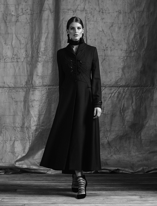 Hand embellished tailored overcoat
