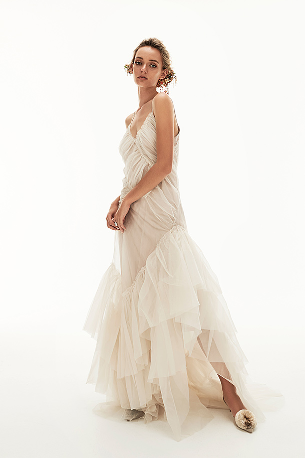 'Charlise' ruched silk organza gown.