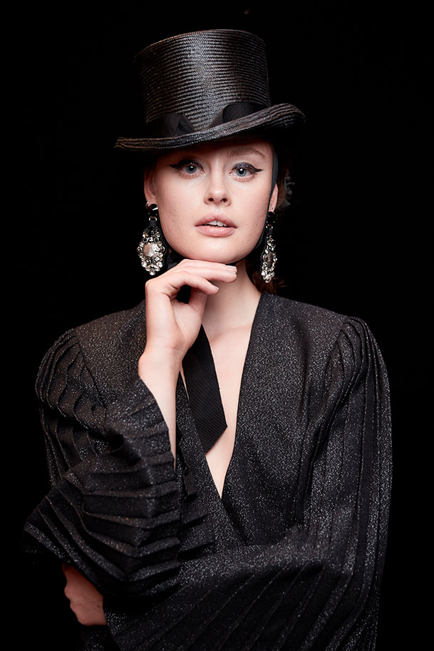 Model in lurex with top hat - Julie Goodwin Couture Melbourne